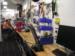 MSU Bikes Service Center's shop area