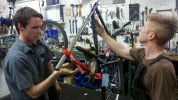 John and Jordan setting up the frame straightening tool.