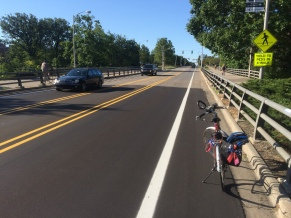 Newly repaved and redone bike lanes on Farm Ln. north of the bridge.